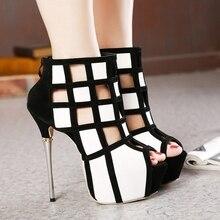 ผู้หญิงตัดออกP Atchworkแพลตฟอร์มส้นสูงรองเท้าข้อเท้าสั้นรองเท้าส้นสูงมากเปิดนิ้วเท้ารองเท้าผู้หญิงB Ooties Myu139-46