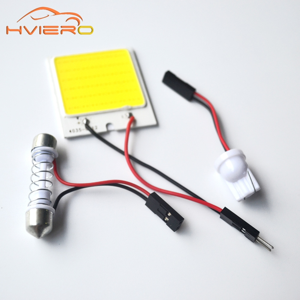Promotion 2Pcs White T10 48Smd Cob Led Panel Car Auto Interior Reading Map Lamp Bulb Light Dome Festoon Bulb 3Adapter DC 12v 48 led auto car dome festoon interior bulb roof light lamp with t10 ba9s festoon adapter base reading light high quality