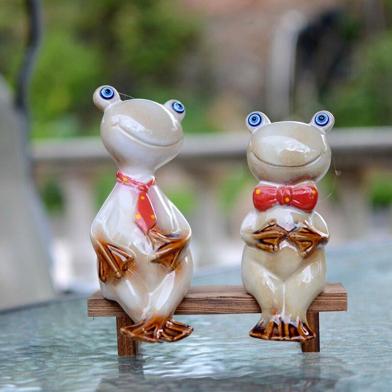 2 pièces pastorale en céramique grenouille ensemble artisanat animal mini jardin porcelaine ornements décoration de la maison accessoires beau cadeau pour enfants