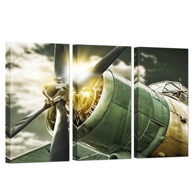 3 Panel Wall Art Painting Turbine Combat Airplane Decor For Home Retro Military Vintage Aircraft Plane