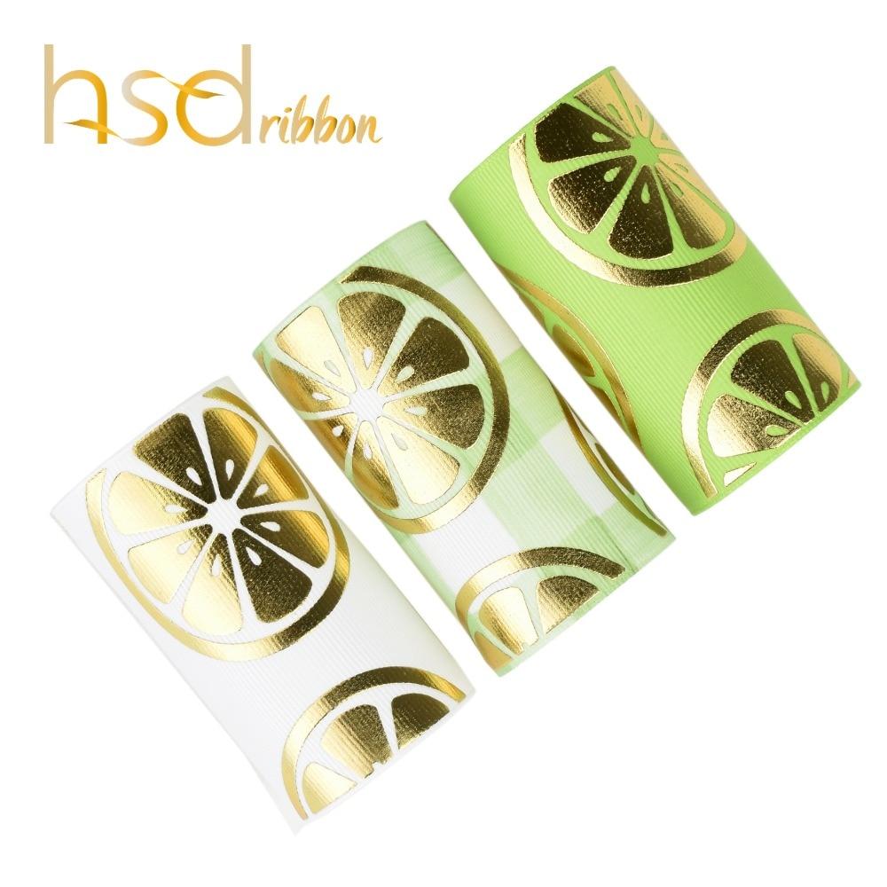 HSDRibbon custom 75MM 3 inch summer series lemon pattern gold Foil Printed on Grosgrain Ribbon
