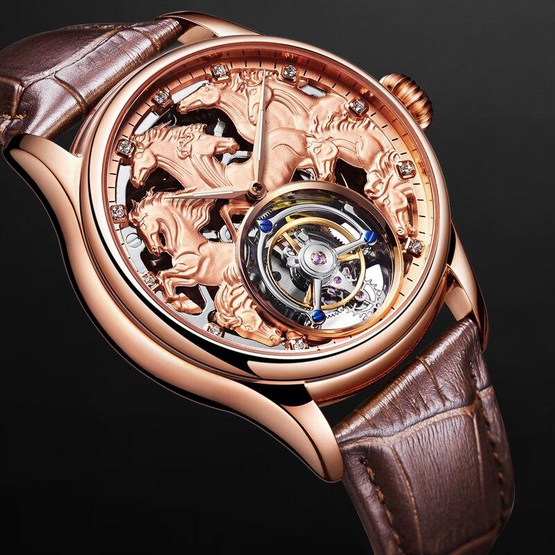 Los mejores hombres Mecánico Tourbillon relojes 24 K de vacío de chapado en oro correa de piel de becerro Caballero reloj mecánico apoyo logotipo personalizado