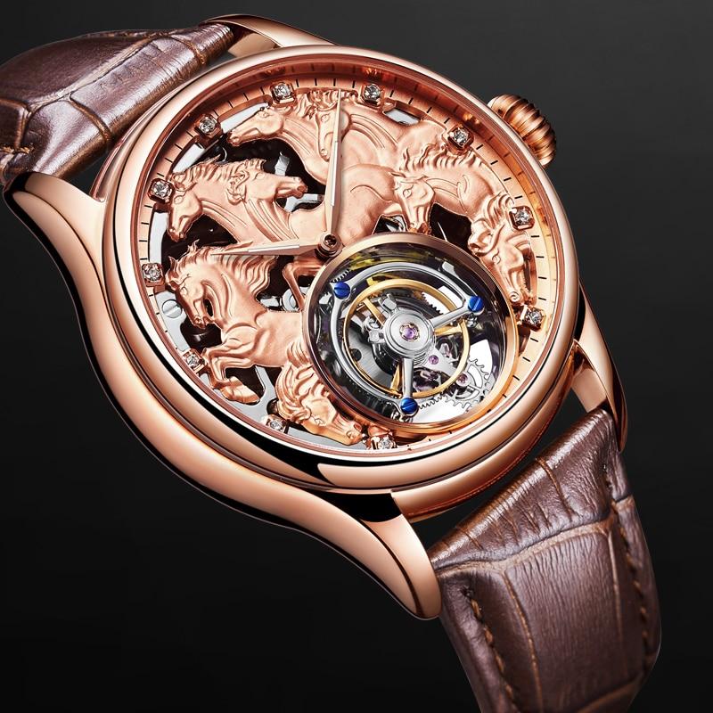 Top Homens Tourbillon Relógios Mecânicos 24 k Vácuo Chapeamento de Ouro Pulseira de Couro De Bezerro Cavalheiro Relógio Mecânico Apoio LOGOTIPO Personalizado