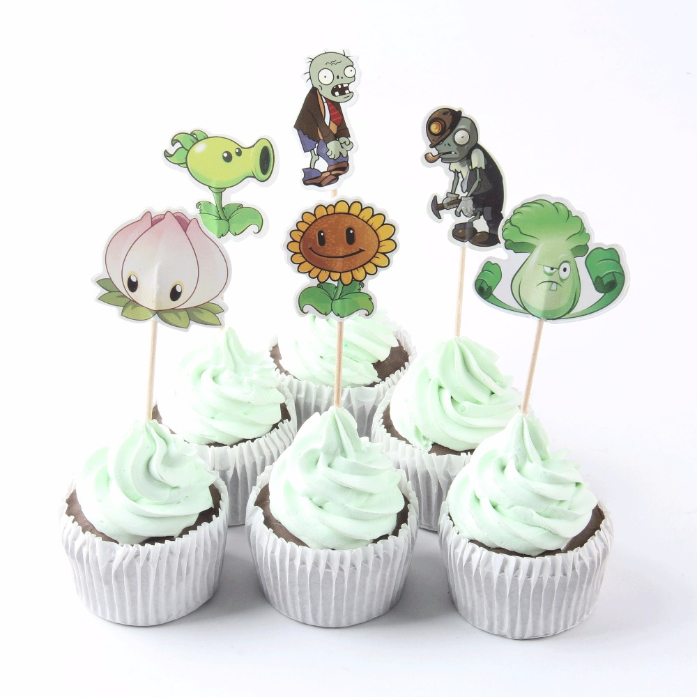 Us 1 16 25 Off 24 Pcs Lot Cartoon Plants Vs Zombies Cupcake Toppers Picks Theme Party Decorations Baby Shower Kids Birthday Party Favors In Cake