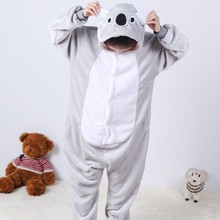 2017 Unisex Koala Children Pajama Overall Warm Kids Cosplay Costume Flannel Pajamas Sets Hooded Animal Sleepwear