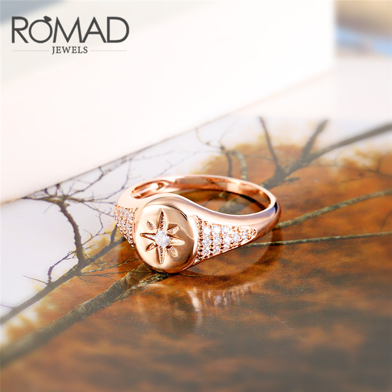 ROMAD Rose Gold Color Rings For Woman Zirconia Star Rings Simple Delicate Ring Jewelry Wedding Party Female Midi Finger Rings R4