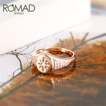 ROMAD Rose Gold Color Rings For Woman Zirconia Star Simple Delicate Ring Jewelry Wedding Party Female Midi Finger R4