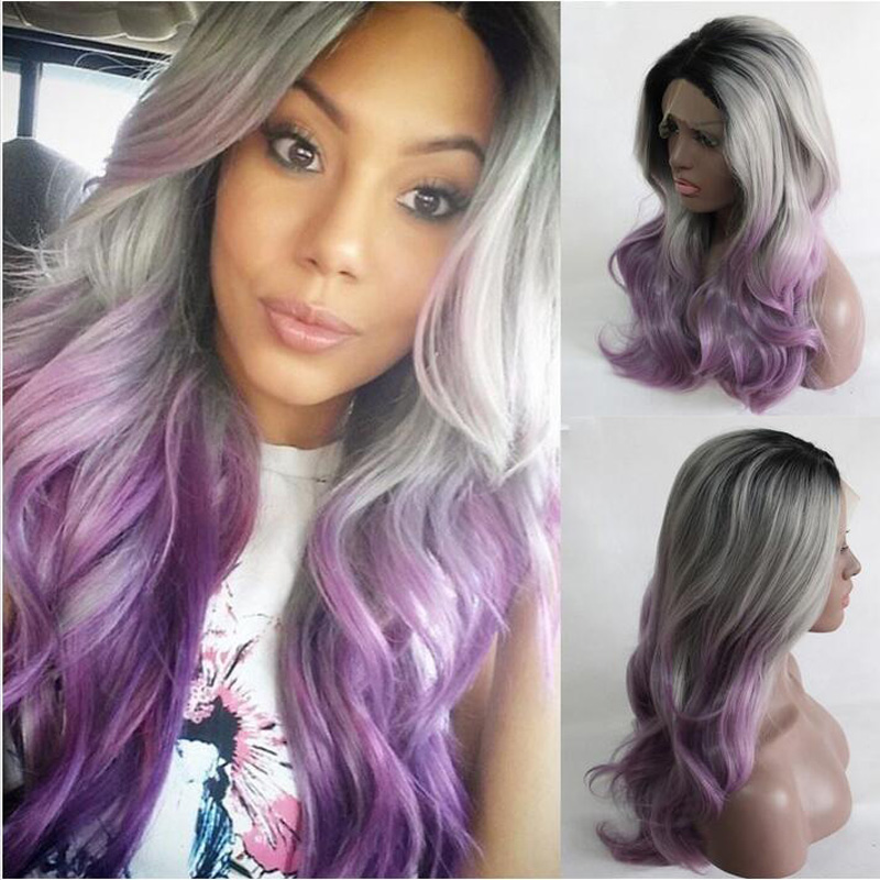 ФОТО New arrival Black/Silver Grey/Purple ombre Bodywave wigs Synthetic Lace Front Wig Glueless Long Natural Heat Resistant Hair