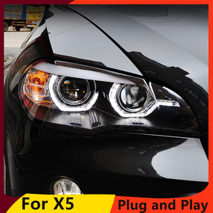 Image 1 - KOWELL Car Styling For BMW X5 e70 2007 2013 Headlight for BMW X5 Head Lamp Auto LED DRL Double Beam H7 HID Xenon bi xenon lens