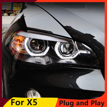 KOWELL faro delantero LED DRL para BMW X5 e70 2013 2018, doble haz, lente de Xenón HID bi Xenon