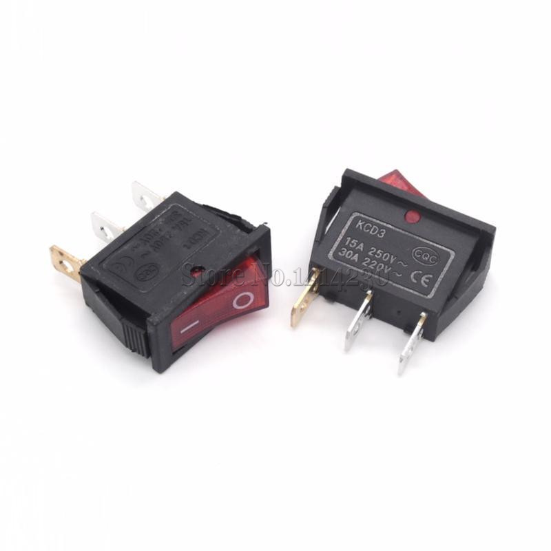 10Pcs Rocker Switch 15A 250V 30A 220VAC 3Pin With Red Light KCD3-102/N 15*32 Mm Power Switch