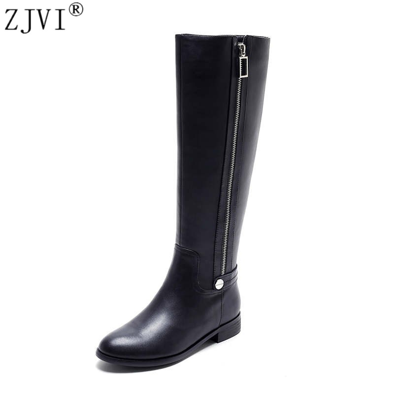 RYVBA women fashion genuine leather PU knee high boots 2018 woman autumn winter thigh high boots womens female ladies shoes ryvba woman knee high snow boots fashion thick plush warm thigh high boots winter boots for women shoes womens female sexy flats