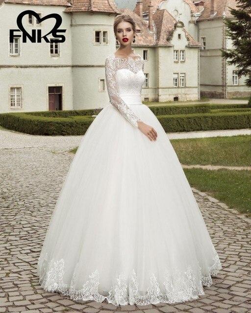 Illusion Long Sleeves Garden Wedding Dresses Floor Length Ball Gown ...