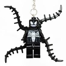 Wholesale Venom Hero Minifigures Keychain For Keys Custom Ring Keychains DIY Handmade Key Chain Building Blocks Toys