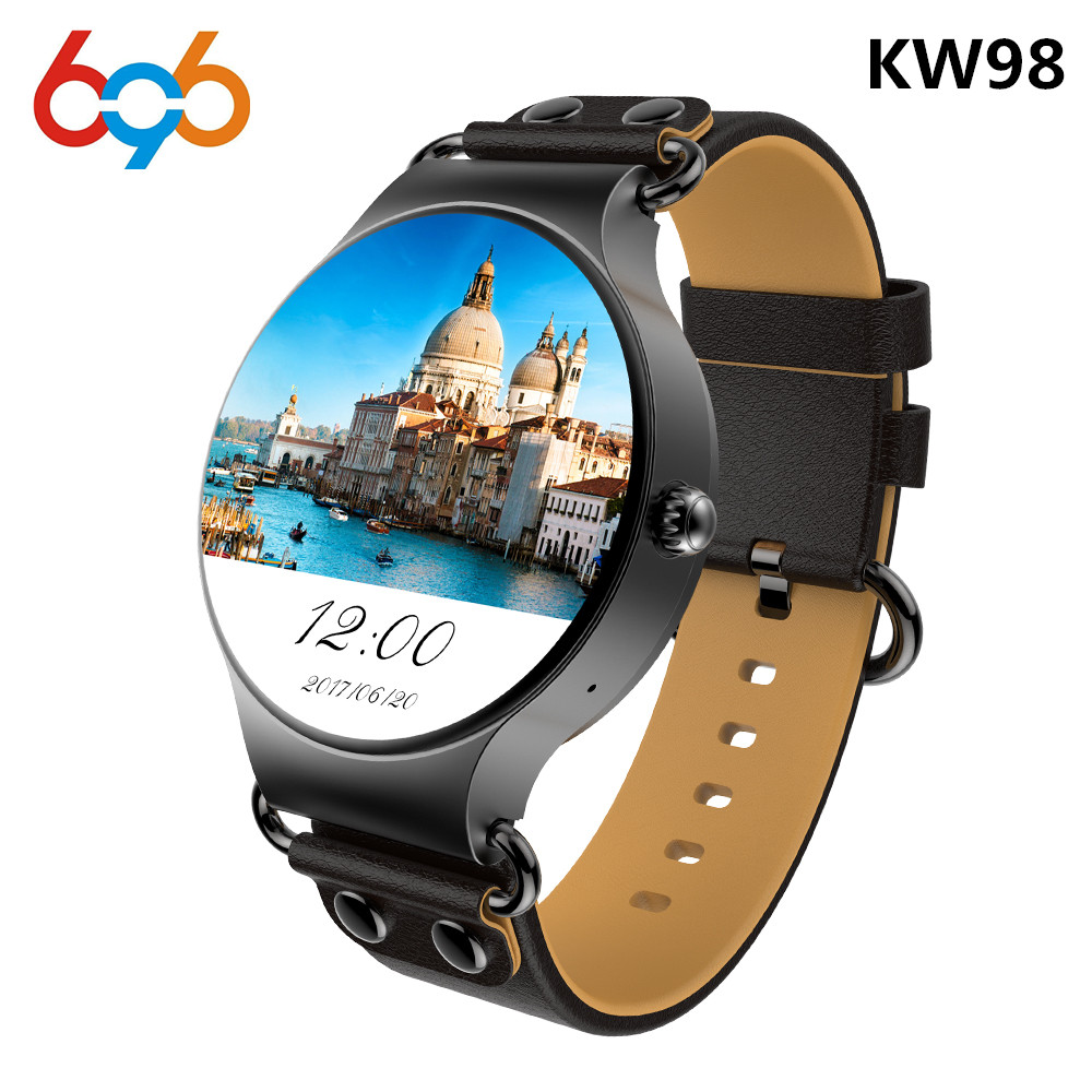 696 Newest KW98 Smart Watch Android 5.1 3G WIFI GPS Watch MTK6580 Smartwatch Play Store Download APP For iOS Android Phone image