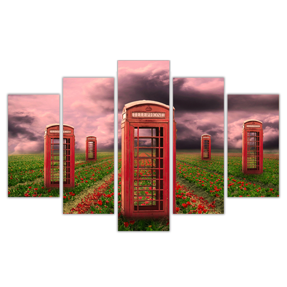 Unframed Canvas Painting Rose Garden Telephone Booth Photo Picture Prints Wall Picture For Living Room Wall Art Decoration