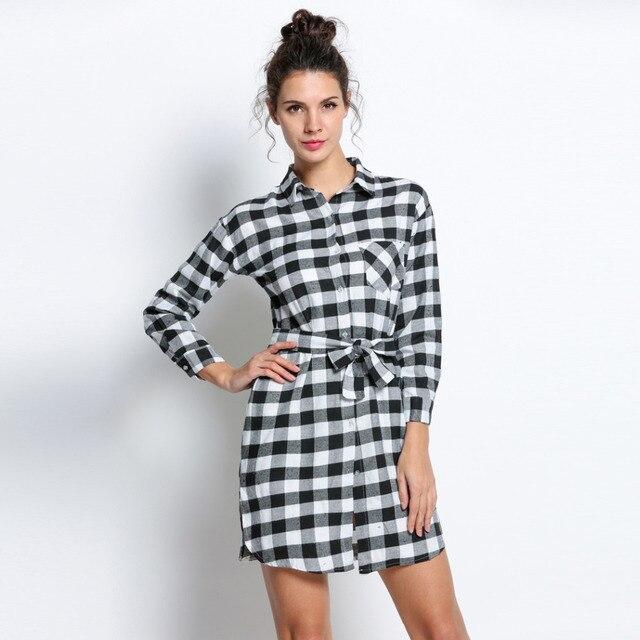 c3fe9e5ee2bd2 NEW British Style Women Lapel Collar Grid Plaid Check Print Dress Shirt  Dress Loose Long Shirt Knee Length Dress Vestido