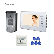 Buy online FREE SHIPPING NEW 7″ Color Screen Video Intercom Door Phone System 1 White Monitor 1 RFID Reader Access Bell Camera Whole sale