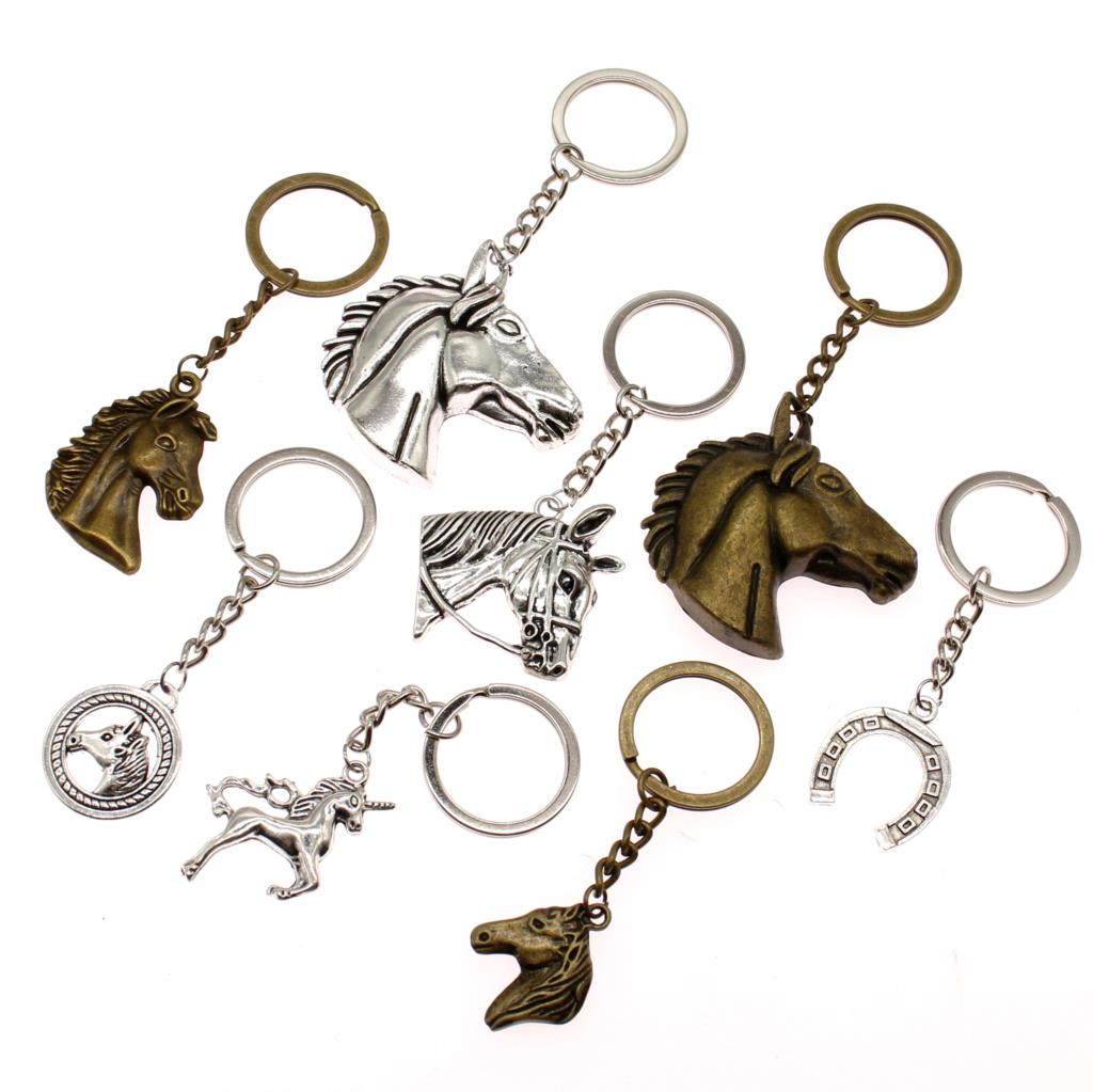 Fashion Key Chain Unicorn Horse Horseshoe Car Keychain Handmade Jewelry Key Chains Bag Charm Keyring Gift For Girls