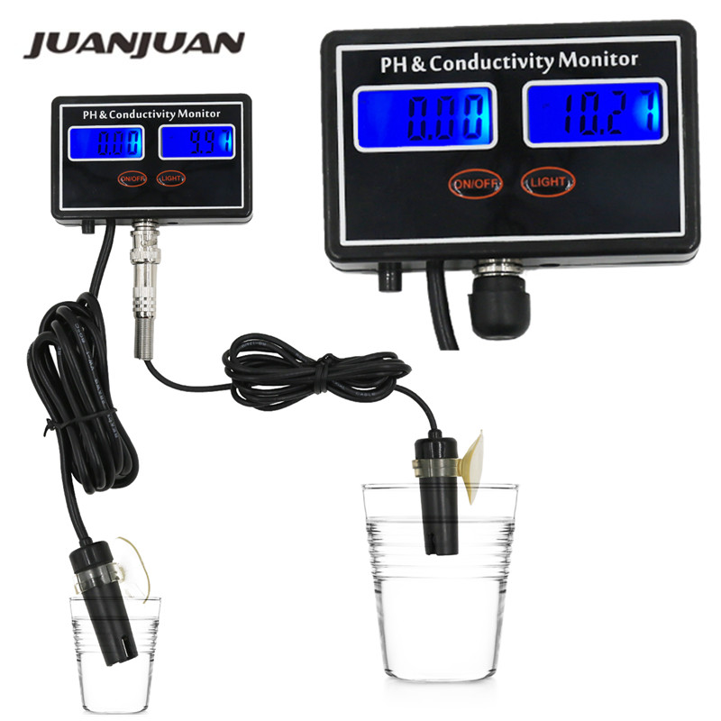 Online PH & EC Conductivity Monitor Meter Tester ATC, Water Quality Real time Continuous Monitoring, for Aquarium