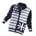 Nuevos Niños Otoño Desgaste del Suéter de Los Niños de La Moda Informal Suéter Suéteres Rayados Del Bebé Chaquetas 3 Tamaño