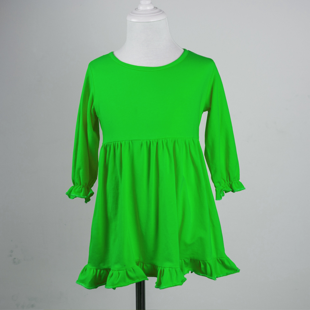 Solid color simple cotton frocks designs single ruffle birthday ...