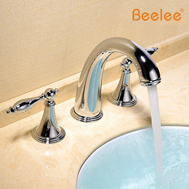 Beelee BL3005 Deck Mounted Three Holes Double Handles Widespread Bathroom  Sink Faucet, Tub Faucet Metal