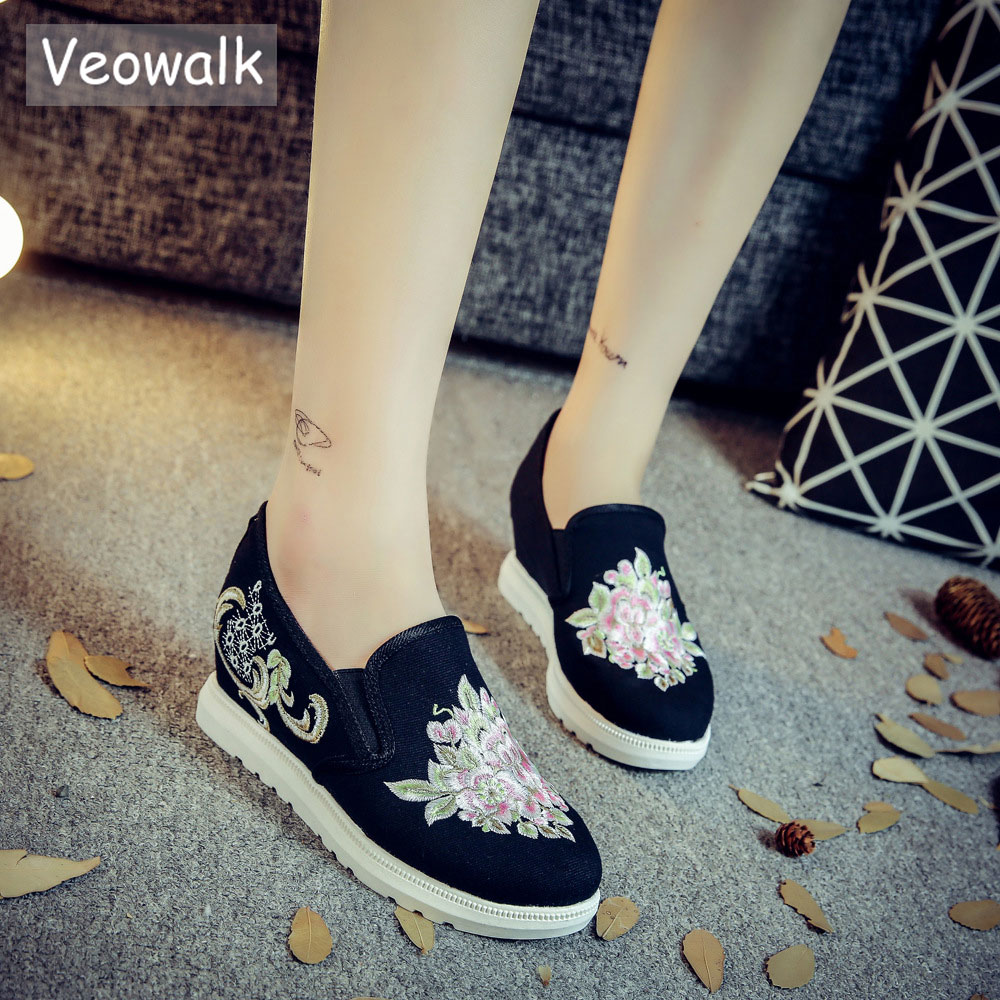 Veowalk Flower Embroidered Women Slip-on Canvas Flat Platforms Low Top Fashion Casual Cotton Shoes for Woman Comfort Bottom embroidered flower mesh crop top