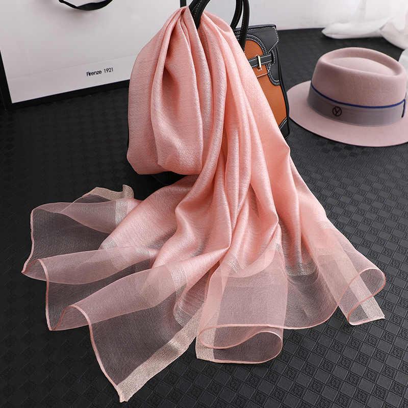 Designer 2019 solido sciarpa di seta delle donne sciarpe scialli e impacchi pashmina chiffon musulmano hijab foulard femme beach stole bandana