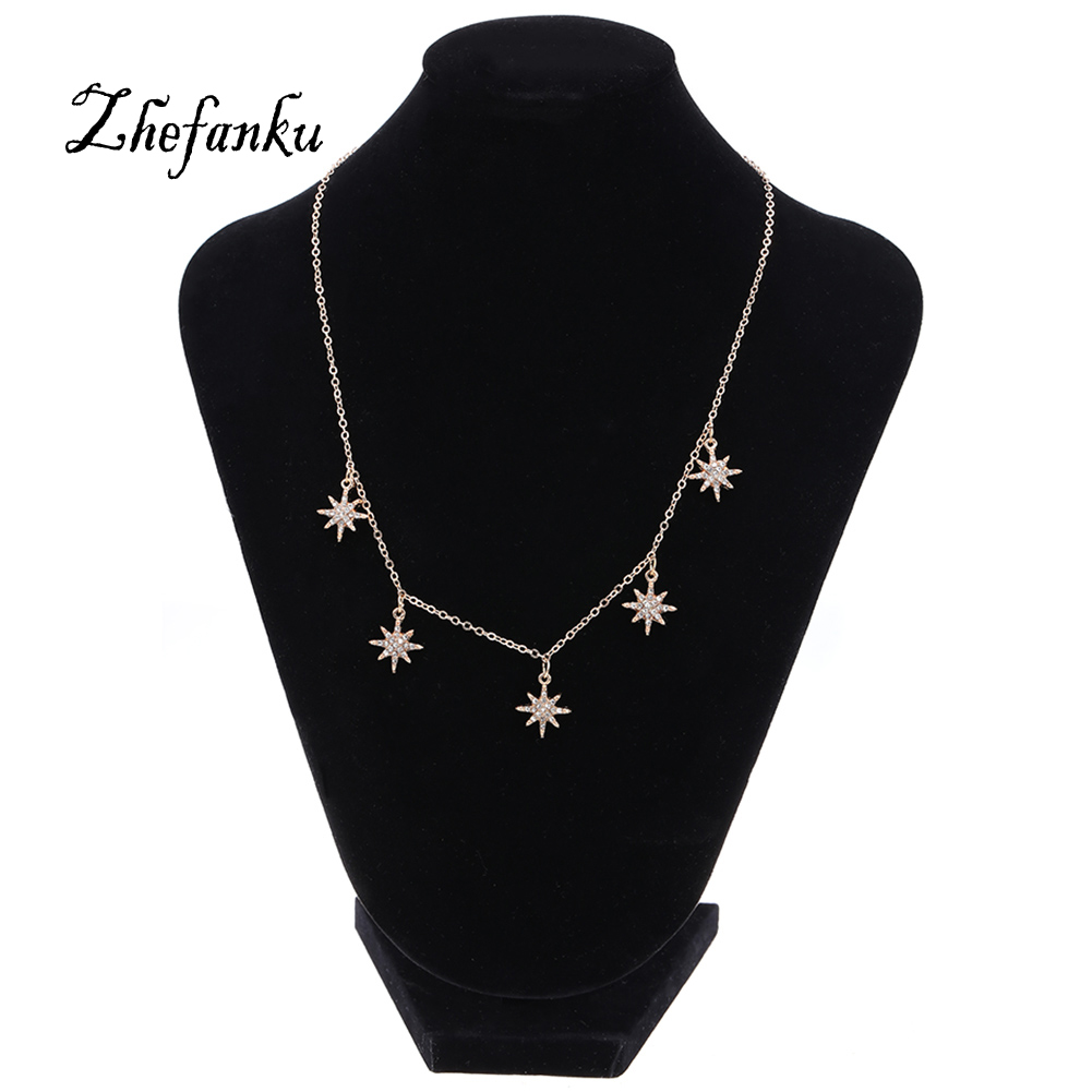 Simple Star Shape Choker Necklaces For font b Women b font Metal Stars Pendant Fashion font