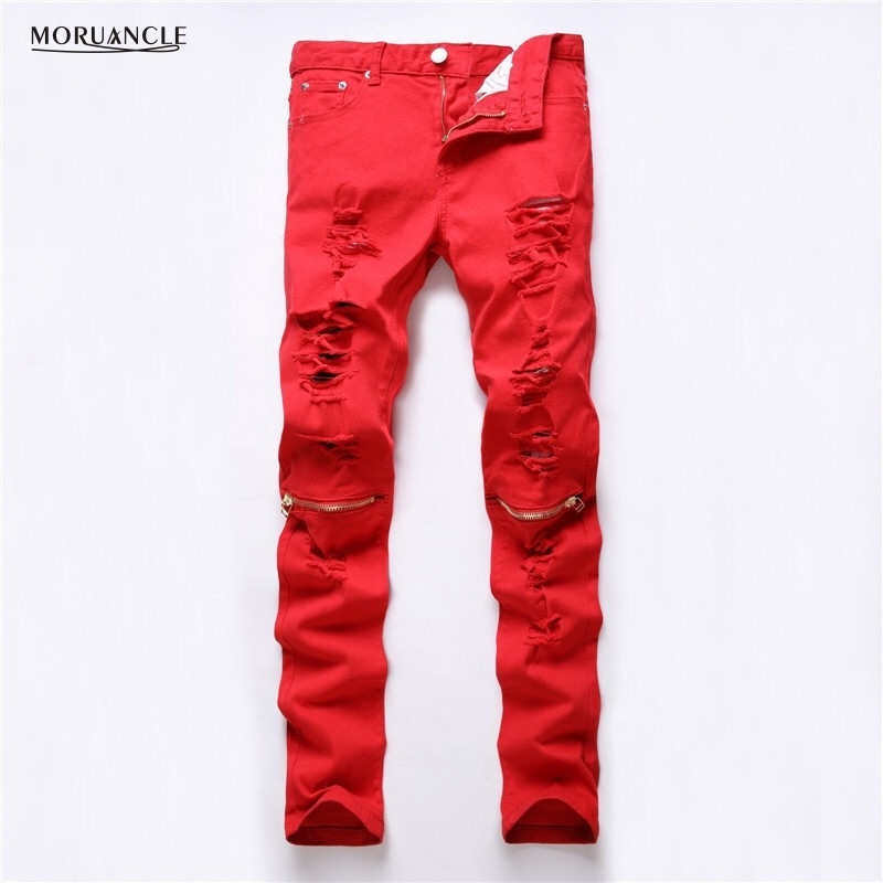 Fashion Design Mens Ripped Jeans Joggers Knee Zipper Slim Fit Distressed Denim Pants For Man Red Black Hip Hop Jean Trousers mens casual elastic ripped drape denim hip hop slim fit distressed biker jeans pants black straight pencil trousers multi zipper