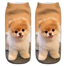 MYTL-Women Funny Emoji Cute Lion Dog 3D Digital Print Breathable Stretchy Short Socks 19Cm