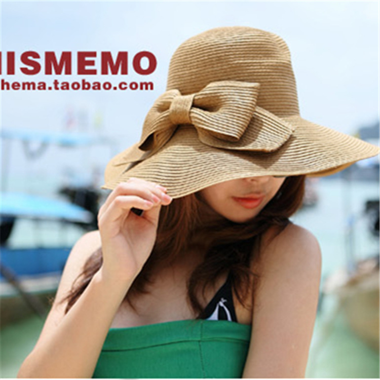 Hot style double bow sun hat with large brim sun hat