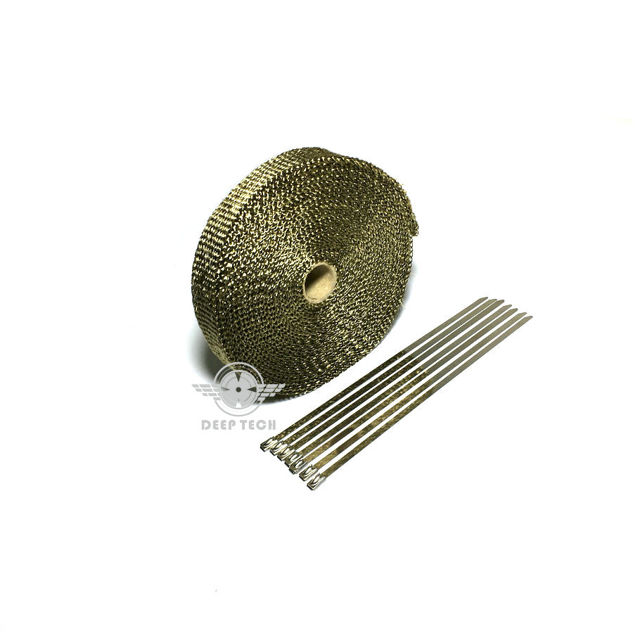 Image 4 - 15m/50ft X 1inch Titanium Thermal Exhaust Header Pipe Heat Wrap Exhaust Wrap Lava Fiber Tape With 6 Pcs Stainless Steel Ties Kit-in Exhaust & Exhaust Systems from Automobiles & Motorcycles