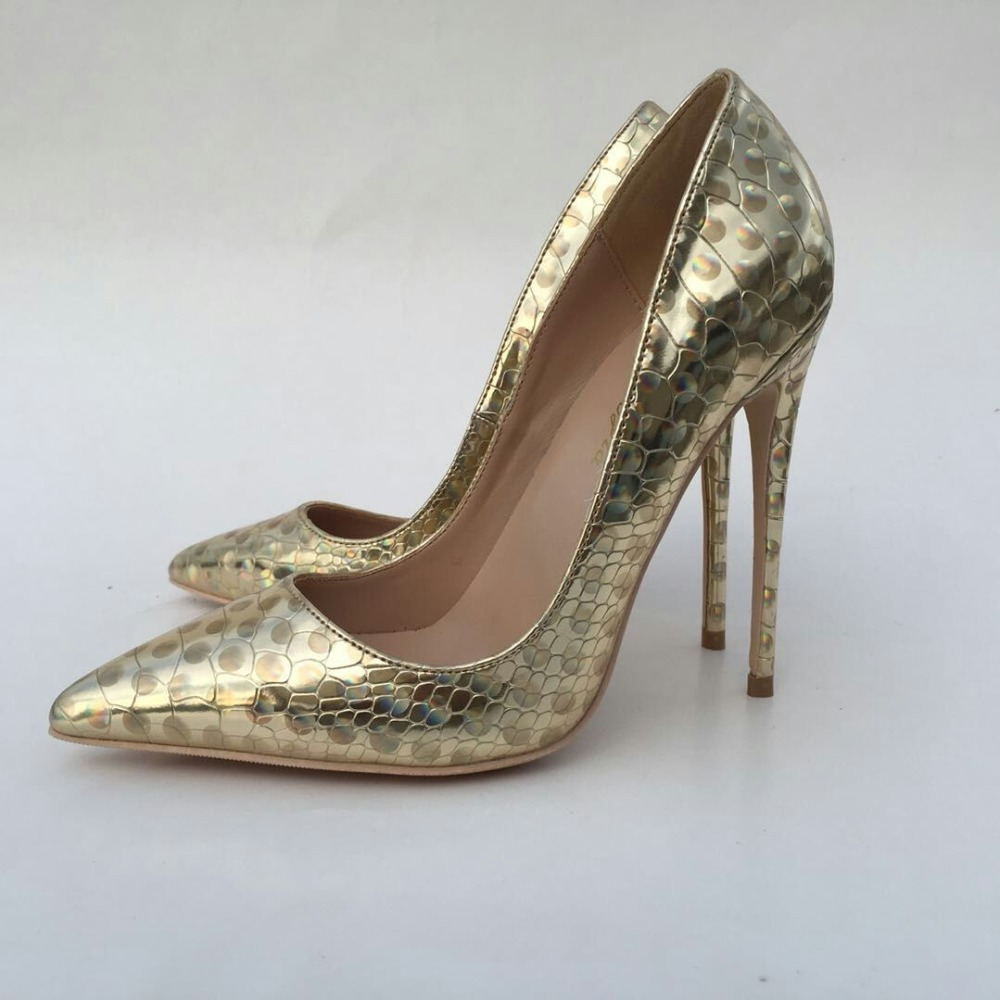 Keshangjia 2018 Spring Women Shoes NEW Fashion PU Wedding Shoes Sexy Pointed Toe Pumps Gold High