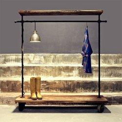 2 уровня Коммерческая одежда стеллажи промышленные трубы одежды стойки прокатки стойка для одежды деревянная вешалка для одежды