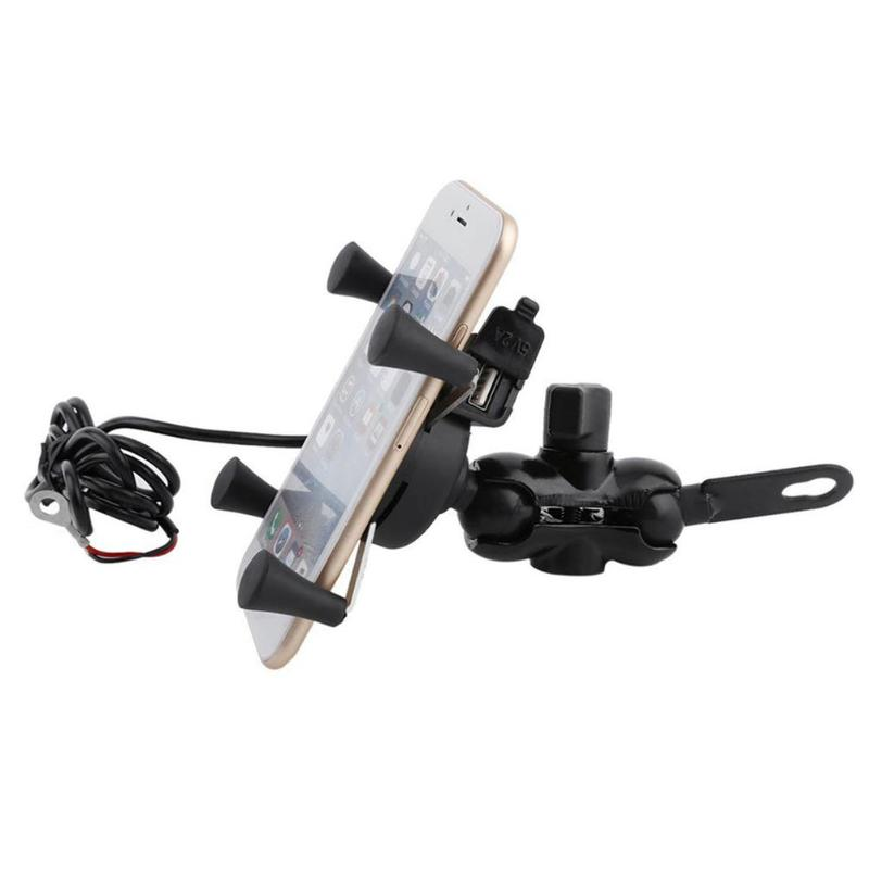 VODOOL 360 Degree Rotatable Holder for Mobile Phone Motorcycle Handlebar Mount Support Charging Bracket for Motorbike Moto