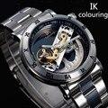 Novo design relógios de aço marca ik colouring oco mecânico automático assista men skeleton natação relógios 50 m à prova d' água