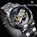 Nuevo diseño de relojes de marca de acero ik colouring hollow reloj mecánico automático de los hombres esqueléticos natación relojes 50 m impermeable