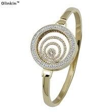 Glinkin 316l brazalete de acero inoxidable para las mujeres de Oro Multi Círculo 30 MM Portamonedas Imán Brazalete de Acero Inoxidable Con 25mm de La Moneda