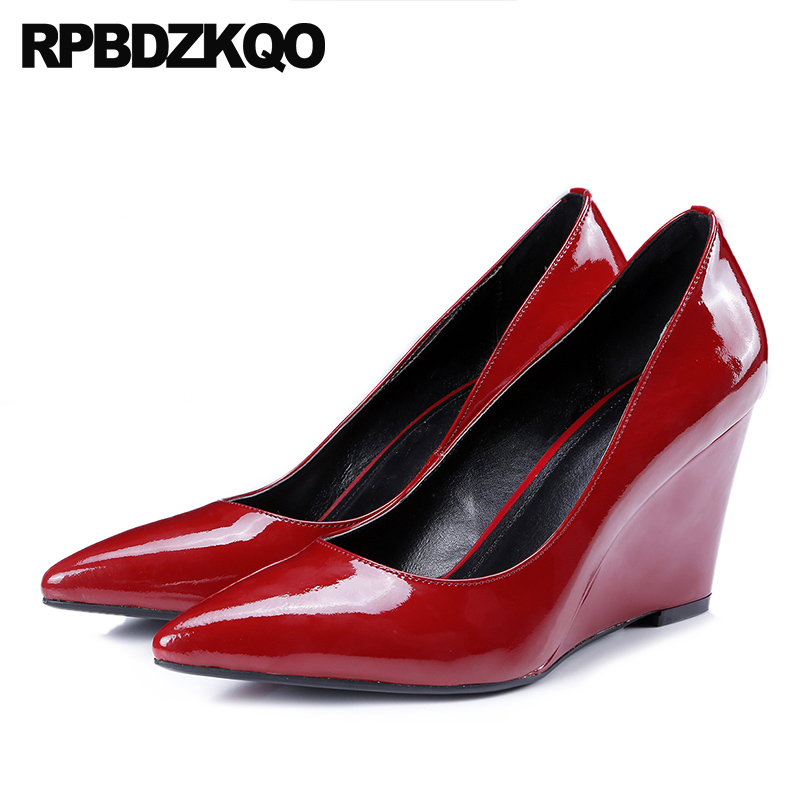 Classic Suede Court Size 4 34 Patent Leather 3 Inch Pumps Genuine Red High Quality Pointed Toe Office Wedge Shoes Ladies Heels купить дешево онлайн