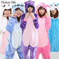 Dower Me 2017 Women Sleep Shirts Pajama Sets Cartoon Sleepwear Flannel Animal Pajama Stitch Panda Unicorn Onesies Lounge