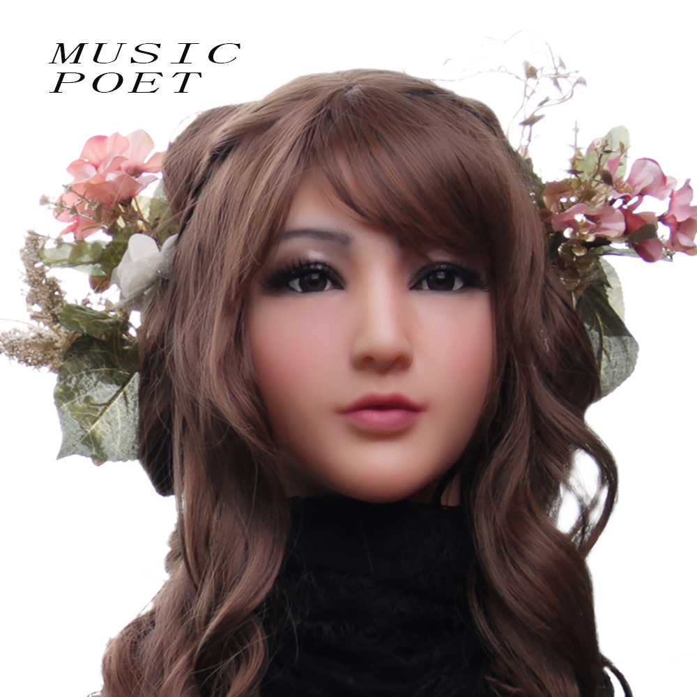 MUSIC POET NEW! realistic latex masks full face female silicone masks disguise Halloween mask sexy cosplay Anime