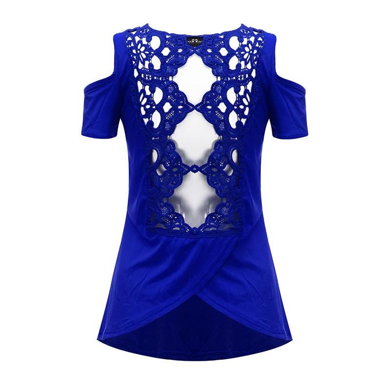 HTB1oDyQNXXXXXaLXFXXq6xXFXXXl - 2017 Summer Blusas Sexy Women Blouses Lace Crochet Short Sleeve