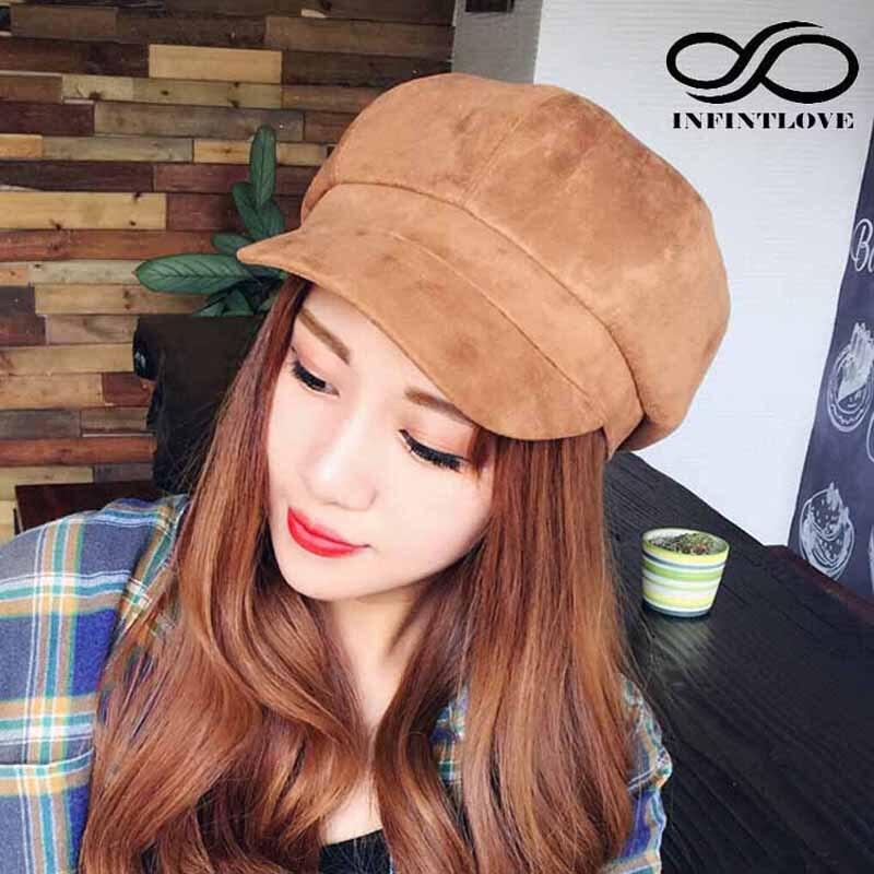 Luckylianji mujeres hombres moda pintor tapa octogonal Otoño Invierno  newsboy Beret sombrero sólido Suede causal encantador casquette 0feef2625c0