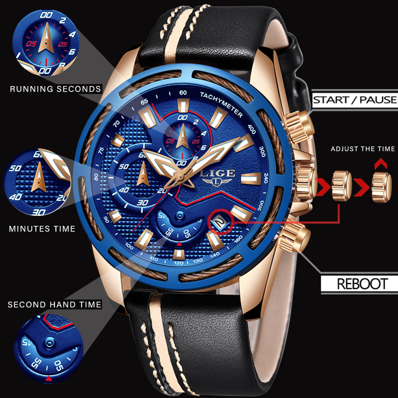 2018 New Design Fashion LIGE Brand Watch Men Leather Business Date Chronograph Quartz-Watch Male Gifts Clock Relogio Masculino