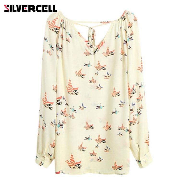 SILVERCELL Lady V Neck Chiffon Blouse Women Long Sleeve Dove Print Casual Blouse Shirt Loose Shirt For Women S-XL