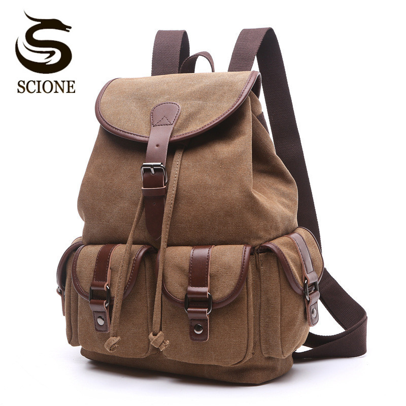 Scione Vintage Women Men Canvas Backpacks Multifunctional Casual Travel Shoulder Bag Man Laptop Rucksack School Mochila FemininaScione Vintage Women Men Canvas Backpacks Multifunctional Casual Travel Shoulder Bag Man Laptop Rucksack School Mochila Feminina