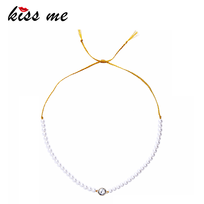 KISS ME Imitation Pearls Necklace Noble & Elegant Adjustable Rope Chain Round Crystal Choker Necklace Women Bijoux