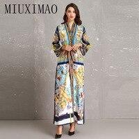 High Quality 2018 Autumn Newst Maxi Dressl Fashion Casual V Neck Loose Full Sleeve Sashes Elegant Ankle Length Long Dress Women